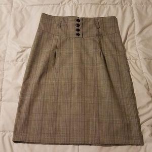 Paper Doll High-waisted Plaid Pencil Skirt
